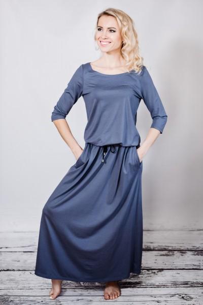 Fotografie Šaty s kapsami dlouhé šedé