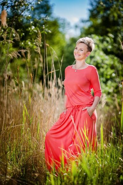 Fotografie Šaty s kapsami dlouhé korálové